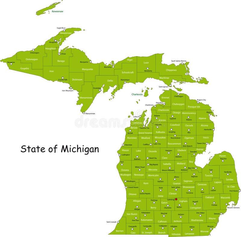 Estado de Michigan ilustración del vector
