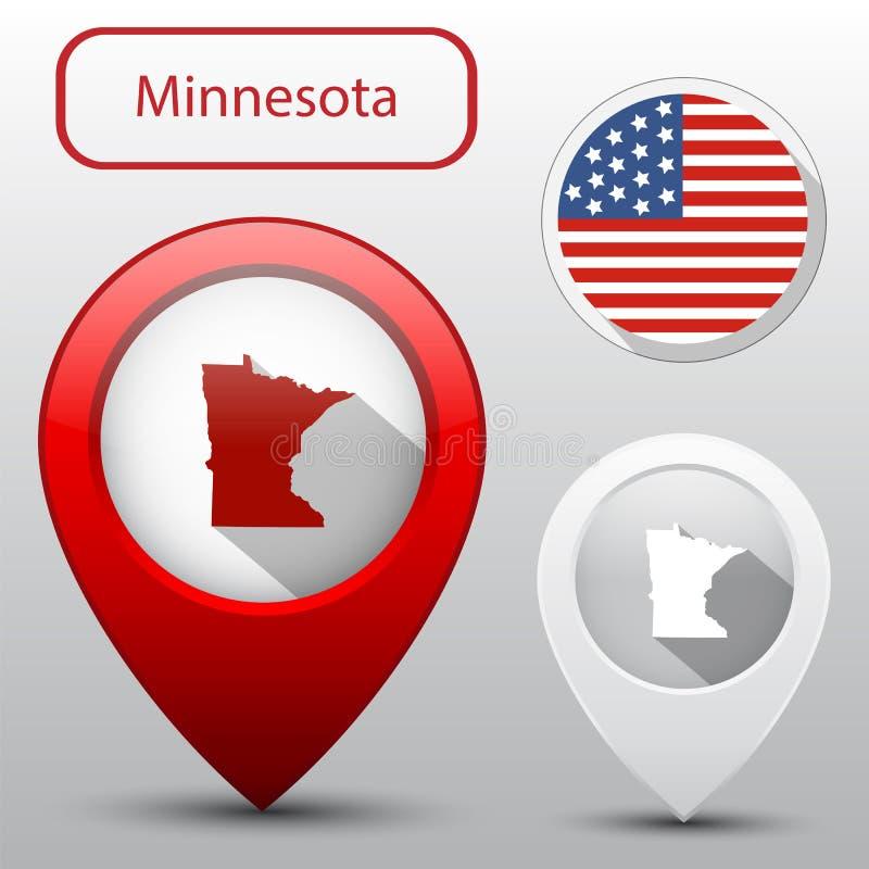 Estado de Minnesota con la bandera América stock de ilustración