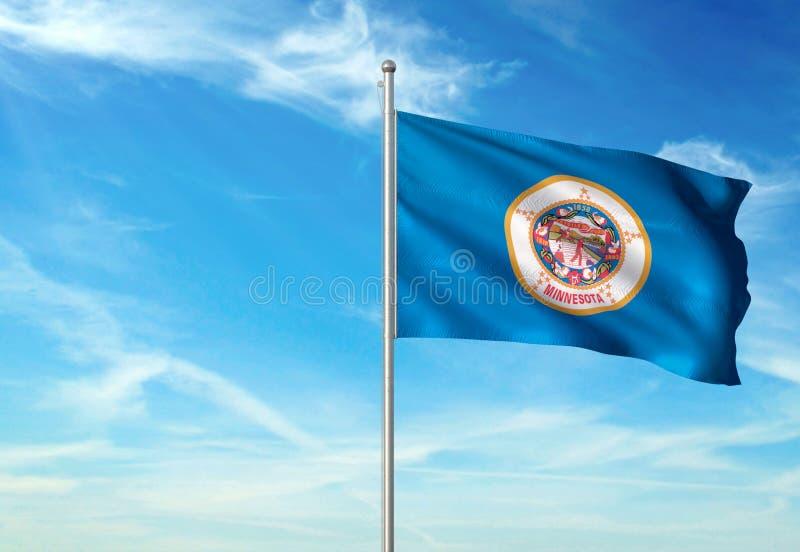 Estado de Minnesota de la bandera de Estados Unidos que agita el ejemplo realista 3d del fondo del cielo azul ilustración del vector