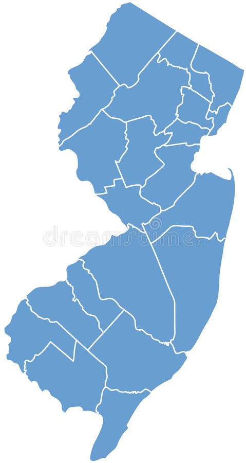 Estado de New-jersey por condados ilustração royalty free