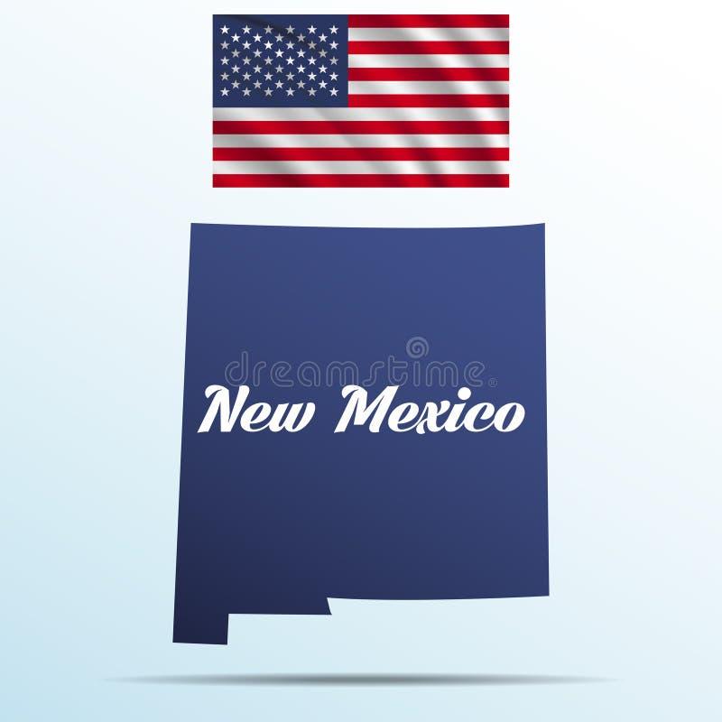 Estado de New mexico com sombra com os EUA que acenam a bandeira ilustração royalty free