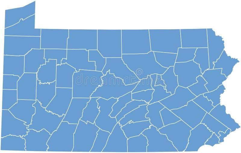 Estado de Pensilvânia por condados ilustração stock