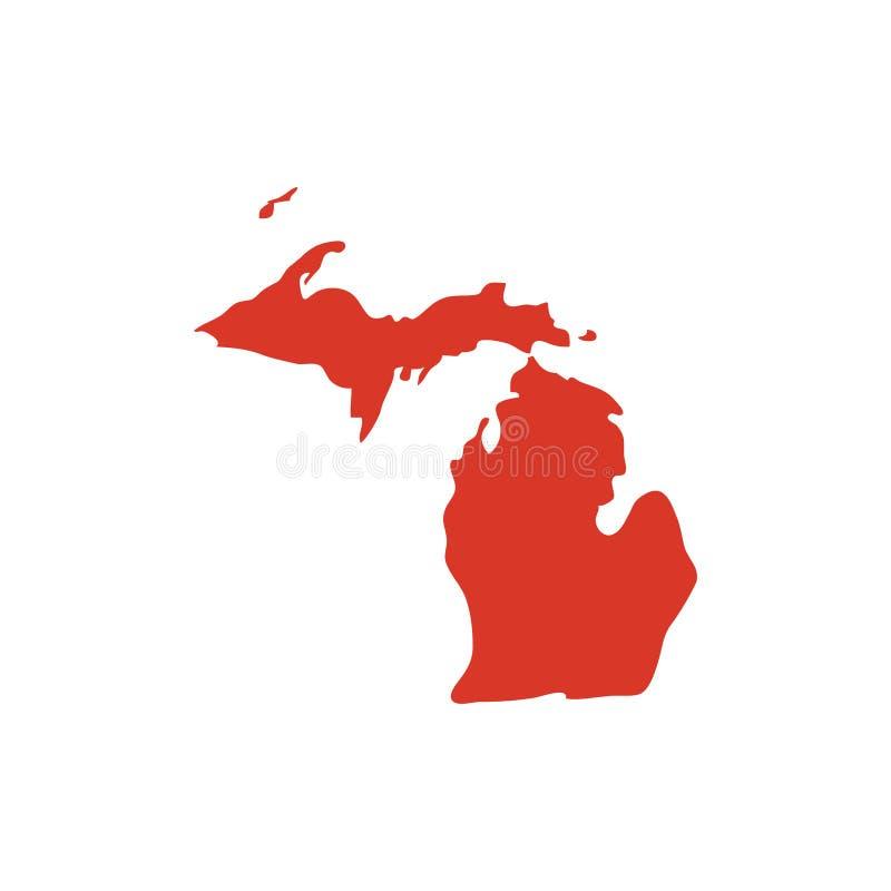 Estado de silhueta do mapa do vetor de Michigan Ícone da forma do estado do MI Mapa de contorno do esboço de Michigan imagem de stock royalty free