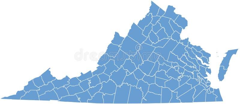 Estado de Virgínia por condados ilustração royalty free
