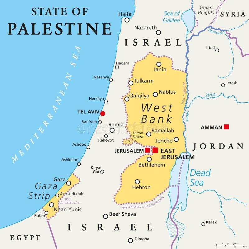 Estado del mapa político de Palestina ilustración del vector