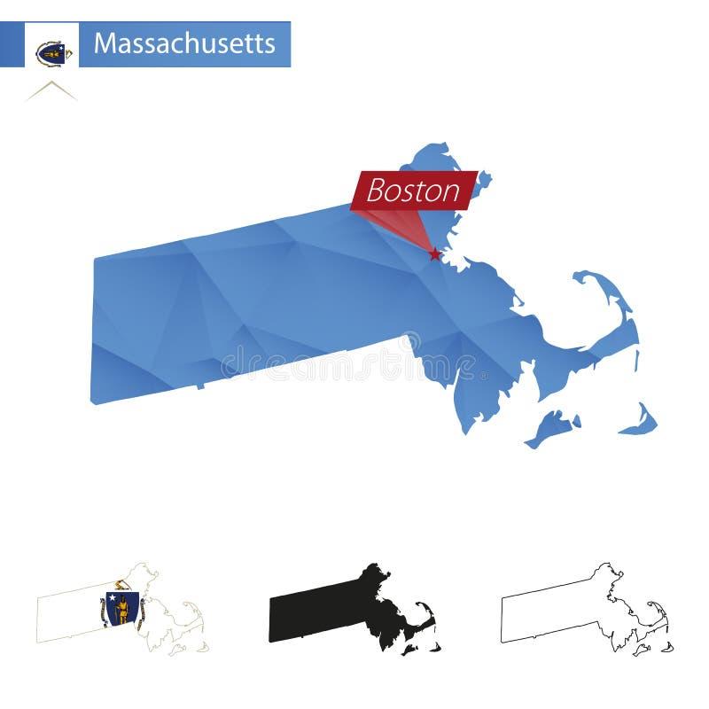 Estado del mapa polivinílico bajo azul de Massachusetts con la capital Boston ilustración del vector