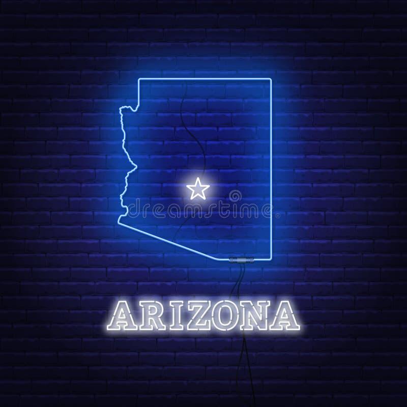 Estado do mapa do Arizona de néon sobre em um fundo da parede de tijolo ilustração stock