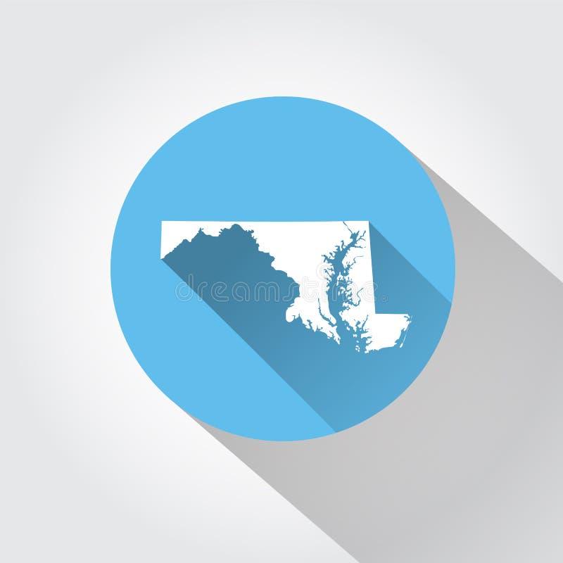 Estado do mapa de Maryland ilustração stock