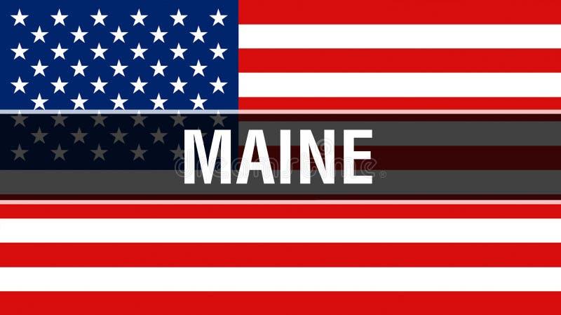 Estado em um fundo da bandeira dos EUA, de Maine rendição 3D Bandeira de Estados Unidos da América que acena no vento Bandeira am ilustração do vetor