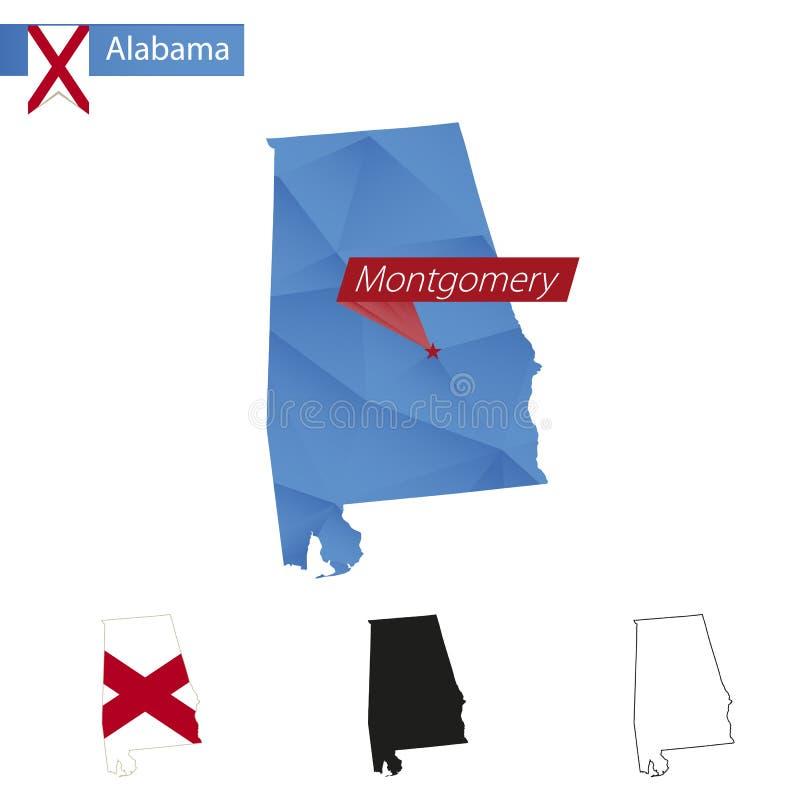 Estado mapa poli azul de Alabama de baixo com capital Montgomery ilustração stock