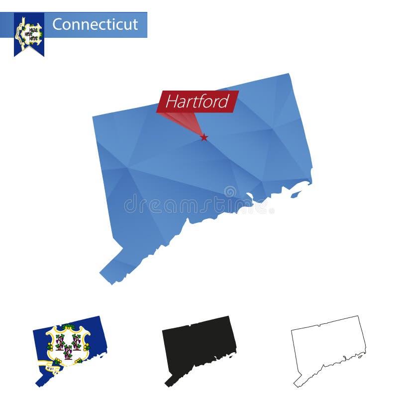 Estado mapa poli azul de Connecticut de baixo com capital Hartford ilustração do vetor