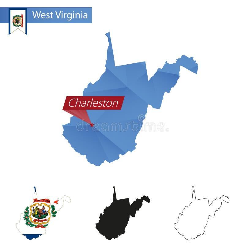 Estado mapa poli azul de West Virginia de baixo com capital Charleston ilustração do vetor
