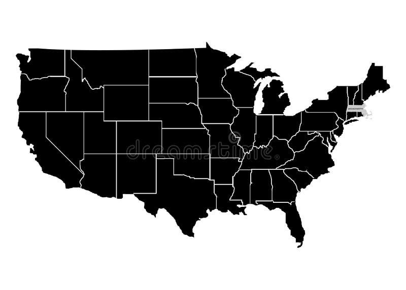 Estado Massachusetts no mapa do território dos EUA Fundo branco Ilustração do vetor ilustração stock