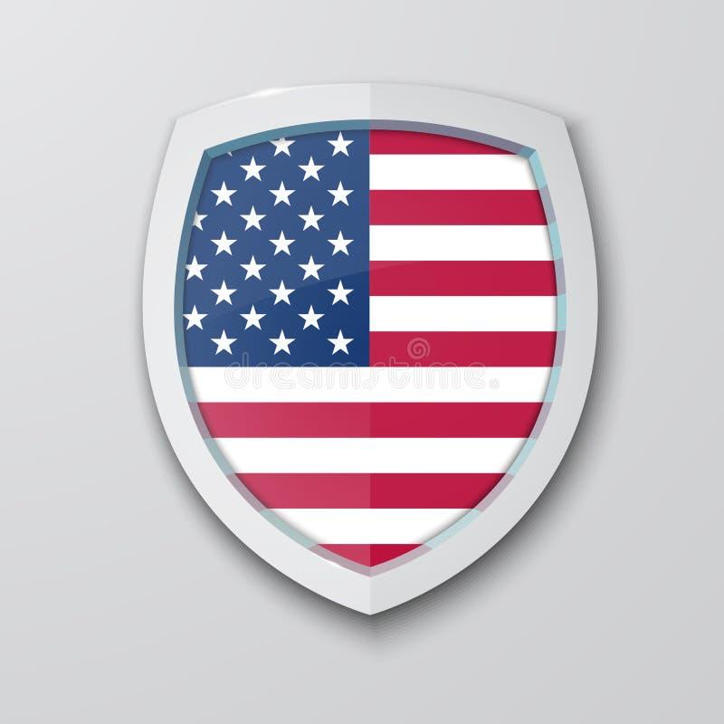 Estado unido de la bandera de América en el escudo libre illustration