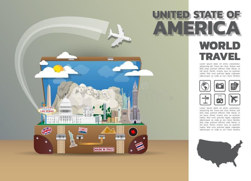 Estado unido del viaje y del viaje globales Infographic de la señal de América ilustración del vector