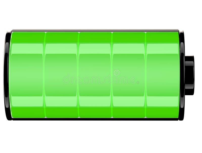 Estado verde do ícone da bateria 3d completamente ilustração stock