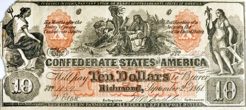 Estados confederados de moeda falsa Bill de América fotografia de stock