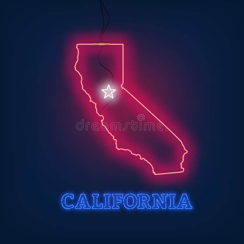 Estados da Califórnia de néon do mapa no fundo escuro ilustração royalty free
