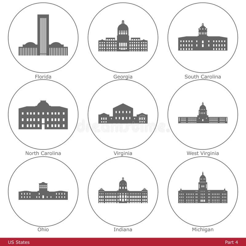 Estados de E.U. - simbolizados pelos Capitólios Part4 do estado ilustração royalty free