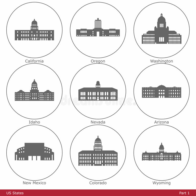 Estados de los E.E.U.U. - simbolizados por los capitolios Part1 del estado stock de ilustración