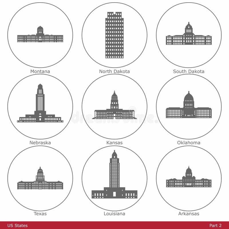 Estados de los E.E.U.U. - simbolizados por los capitolios Part2 del estado stock de ilustración