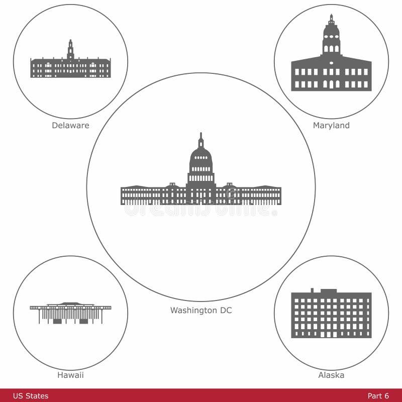 Estados de los E.E.U.U. - simbolizados por los capitolios Part6 del estado ilustración del vector
