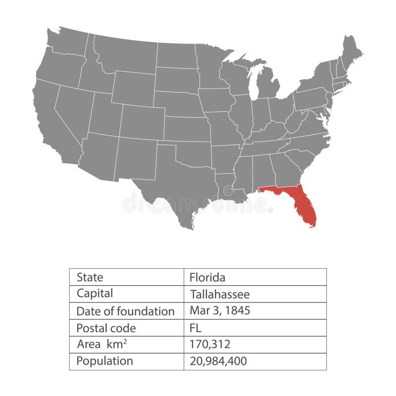 Estados de território de América no fundo branco florida Estado separado Ilustração do vetor ilustração royalty free