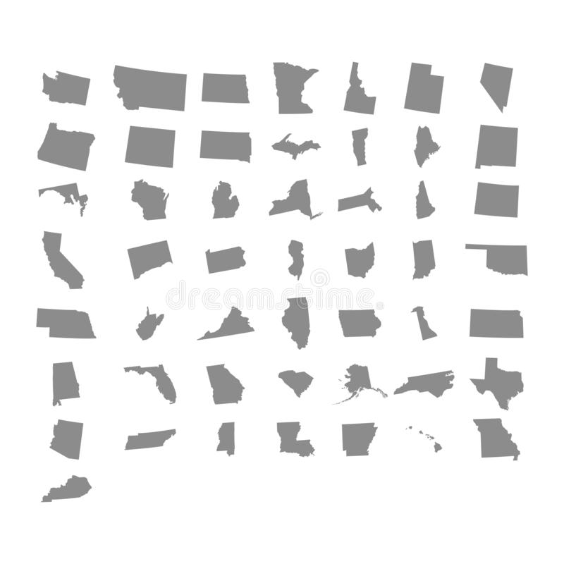 Estados de território de América no fundo branco Ilustração do vetor ilustração stock