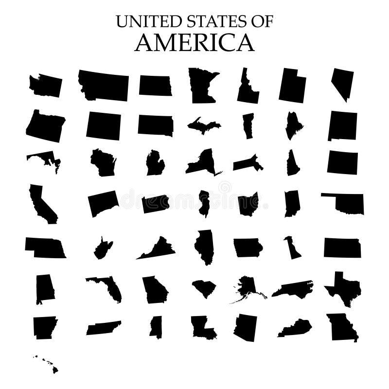 Estados de território de América no fundo branco Estados separados Ilustração do vetor ilustração do vetor