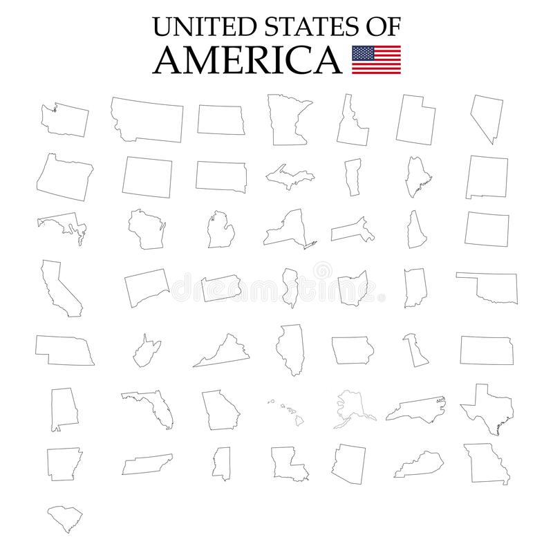 Estados de território de América no fundo branco Estados separados Ilustração do vetor ilustração royalty free