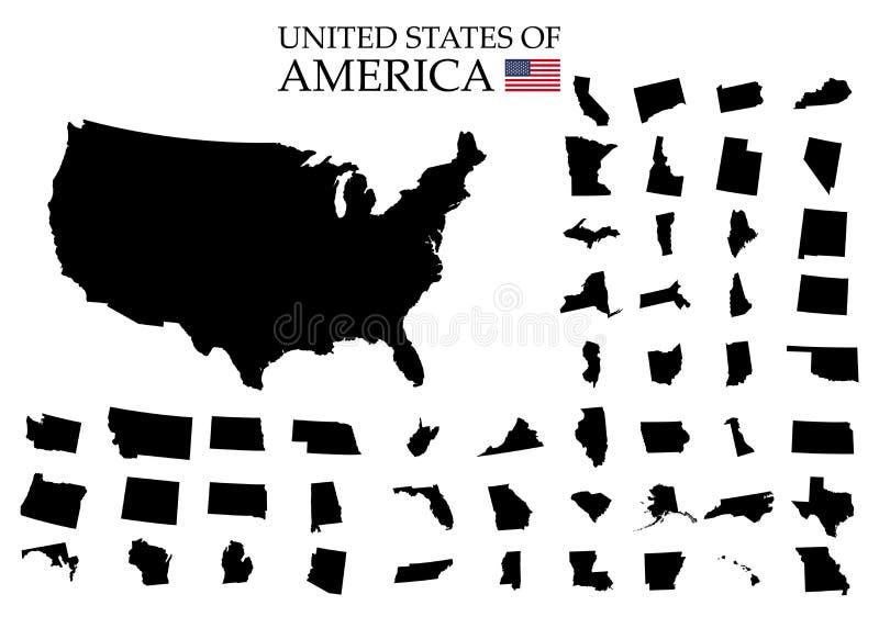 Estados de território de América no fundo branco Estados separados Ilustração do vetor ilustração stock