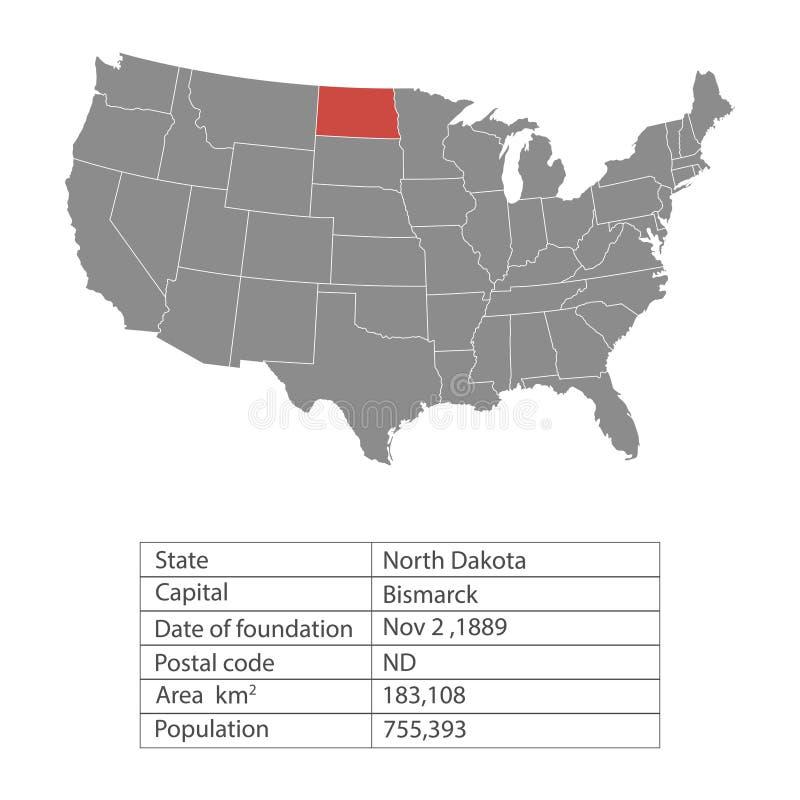 Estados del territorio de América en el fondo blanco Dakota del Norte Estado separado Ilustración del vector ilustración del vector