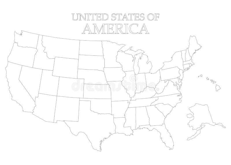 Estados del territorio de América en el fondo blanco Indicador americano Estado separado Ilustración del vector stock de ilustración