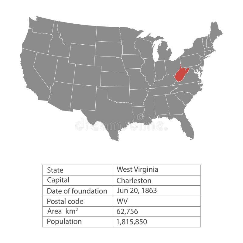Estados del territorio de América en el fondo blanco Virginia Occidental Estado separado Ilustración del vector ilustración del vector