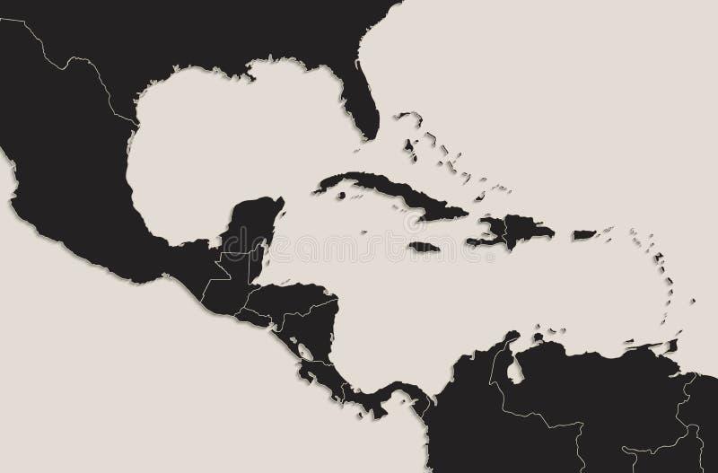 Estados separados de la pizarra del negro del mapa de America Central de las islas caribeñas individuales libre illustration