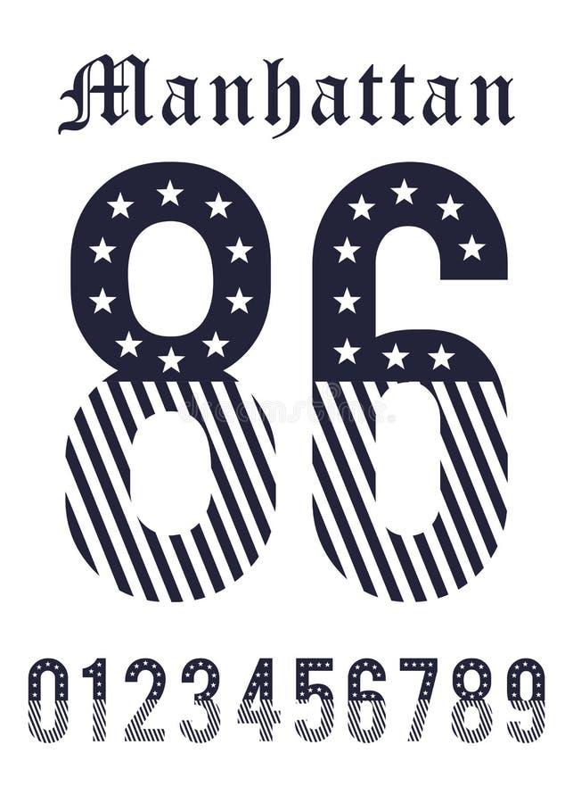 Estados Unidos ajustado da bandeira da textura do número de Manhattan ilustração royalty free