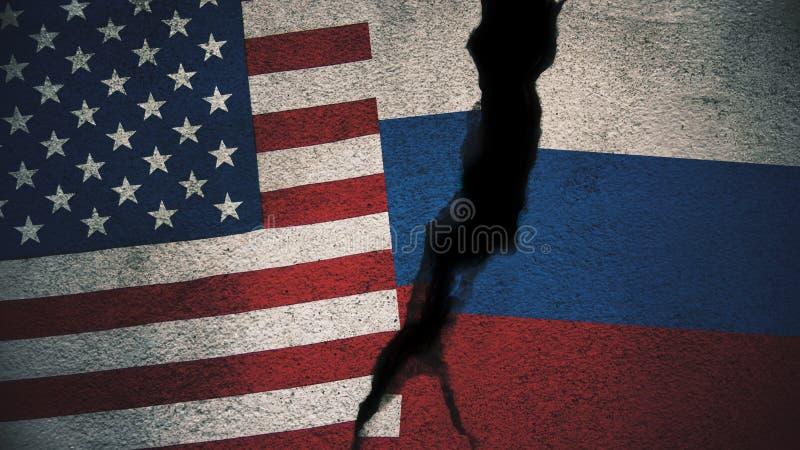 Estados Unidos contra bandeiras de Rússia em parede rachada fotos de stock royalty free