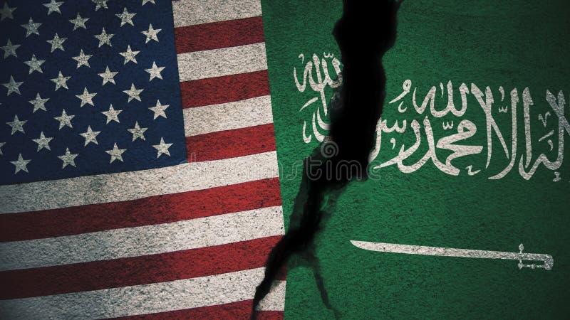 Estados Unidos contra las banderas de la Arabia Saudita en la pared agrietada imagenes de archivo