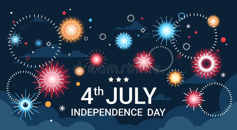 Estados Unidos Día de la Independencia día de fiesta tarjeta de felicitación de la bandera del 4 de julio ilustración del vector