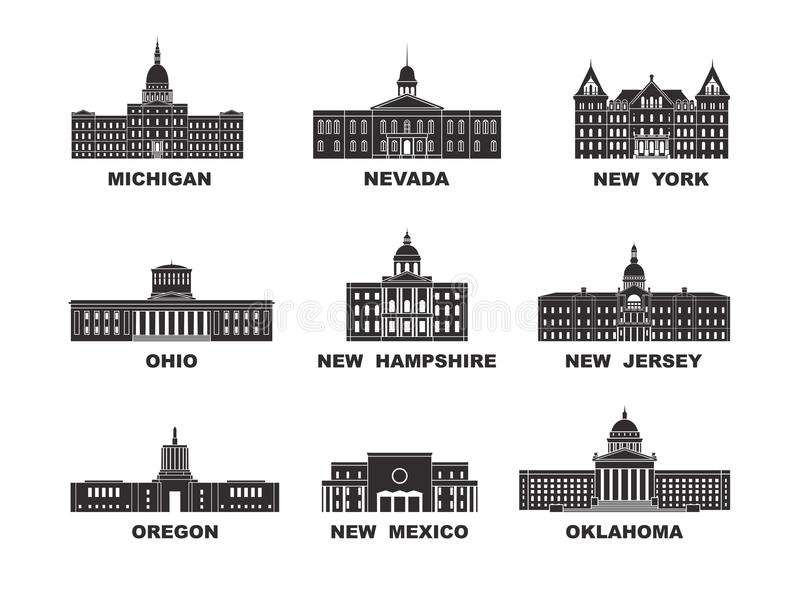 Estados Unidos da América Coleção do vetor da cidade do Estados Unidos ilustração royalty free