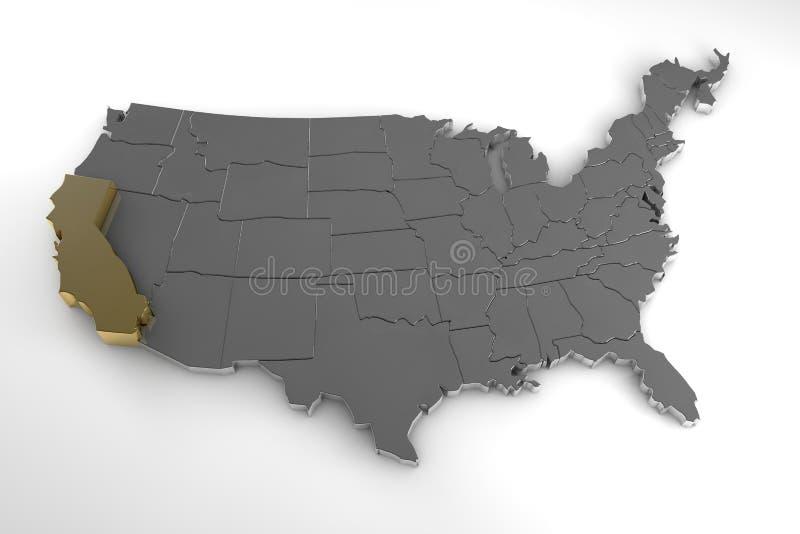Estados Unidos da América, 3d mapa metálico, estado de Califórnia do whith destacado ilustração do vetor