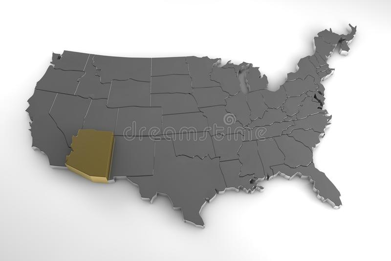 Estados Unidos da América, 3d mapa metálico, estado do Arizona do whith destacado ilustração stock