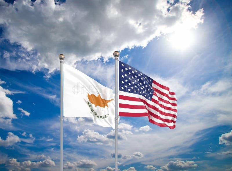 Estados Unidos da América vs Chipre Bandeiras da América e de Chipre, de cor grossa, de seda Ilustração 3D sobre fundo do céu - imagens de stock royalty free