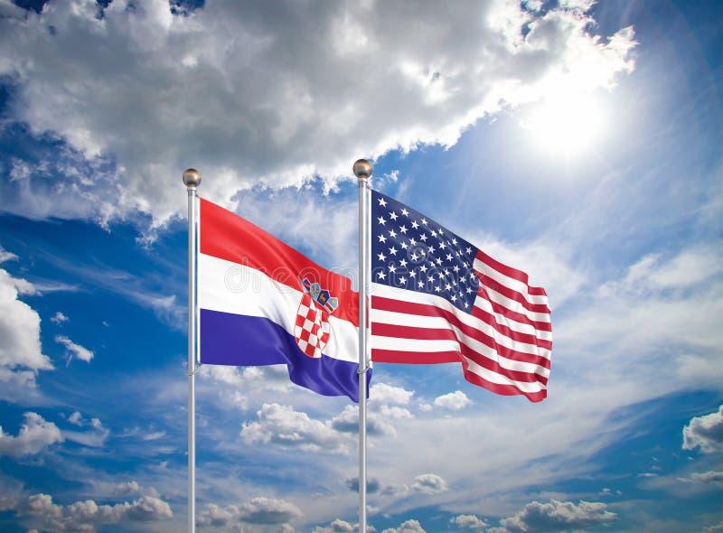 Estados Unidos da América vs Croácia Bandeiras de cor espessa e seda da América e da Croácia Ilustração 3D sobre fundo do céu - foto de stock