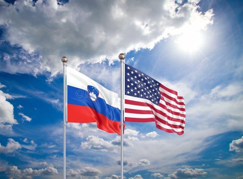 Estados Unidos da América vs Eslovênia Bandeiras de seda grossas da América e Eslovênia Ilustração 3D sobre fundo do céu - imagens de stock
