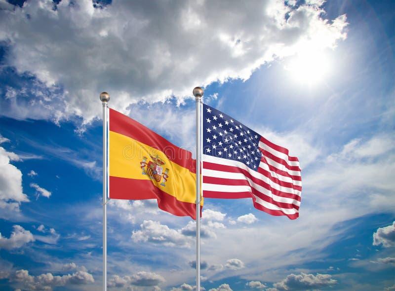 Estados Unidos da América vs Espanha Bandeiras de seda grossas da América e Espanha Ilustração 3D sobre fundo do céu - imagem de stock royalty free