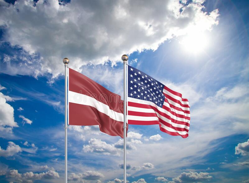 Estados Unidos da América vs Letónia Bandeiras de cor espessa e seda da América e da Letónia Ilustração 3D sobre fundo do céu - fotos de stock