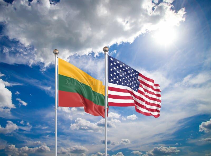Estados Unidos da América vs Lituânia Bandeiras de seda grossas da América e Lituânia Ilustração 3D sobre fundo do céu - fotos de stock royalty free