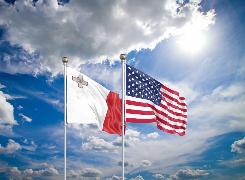 Estados Unidos da América vs Malta Bandeiras de cor espessa e seda da América e de Malta Ilustração 3D sobre fundo do céu - imagem de stock royalty free