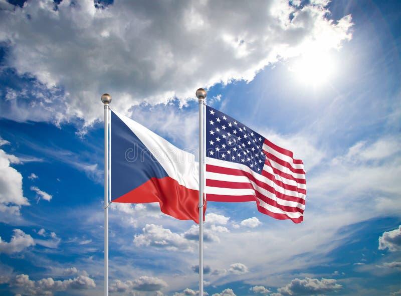 Estados Unidos da América vs República Checa Bandeiras de seda grossas da América e da República Checa Ilustração 3D no céu imagens de stock royalty free